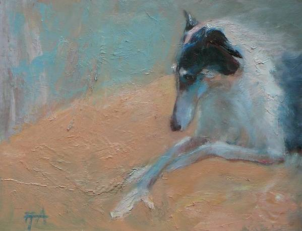 Animal Art Print featuring the painting SOLD Borzoi Waiting for Dusk by Irena Jablonski