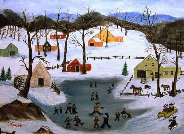 Folk Art Art Print featuring the painting The Ice Pond by Kenneth LePoidevin