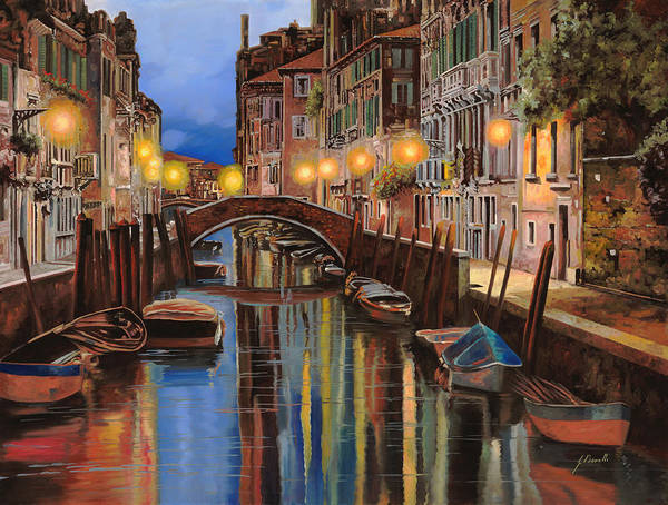 Venice Art Print featuring the painting alba a Venezia by Guido Borelli