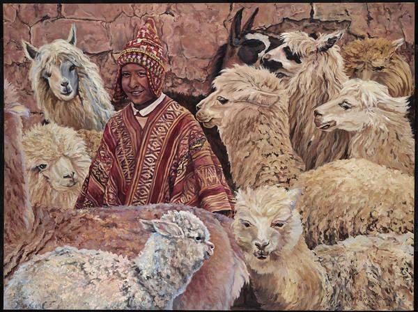 Peru Art Print featuring the painting Alpaca shepherd by Christine Lytwynczuk