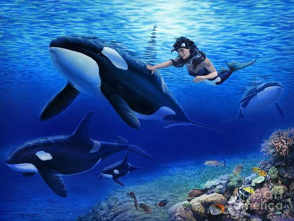 Mermaid Art Print featuring the painting Aquaria's Orcas by Stu Shepherd