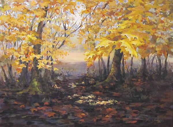 Acrylic Art Print featuring the painting Autumn Forest by Karen Ilari