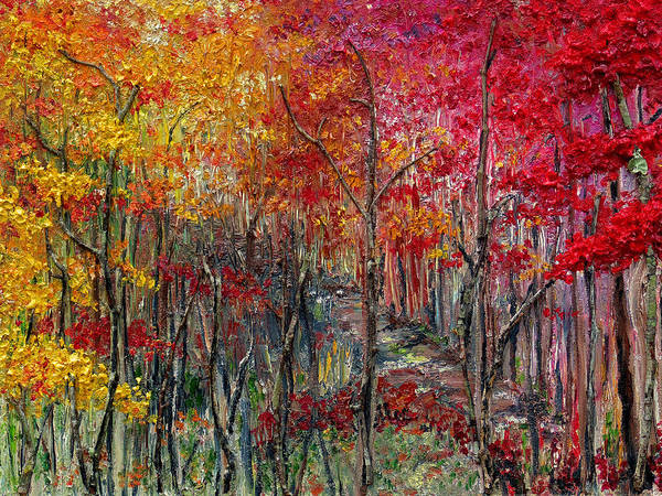 Autumn Art Print featuring the painting Autumn In The Woods by Karin Dawn Kelshall- Best