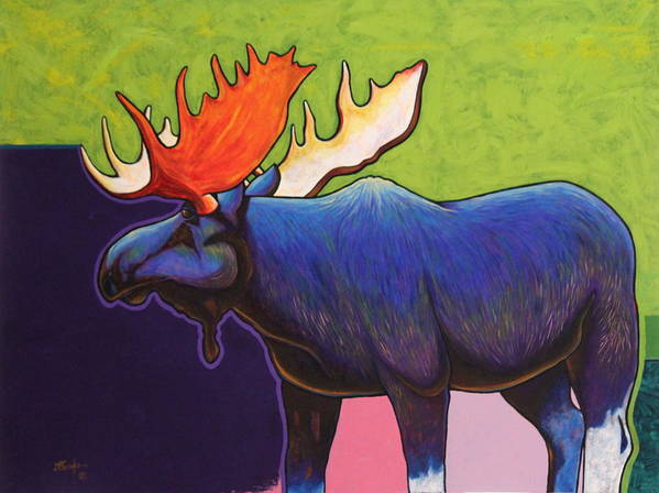 Wildlife Art Print featuring the painting Battle Tested Bull Moose by Joe Triano