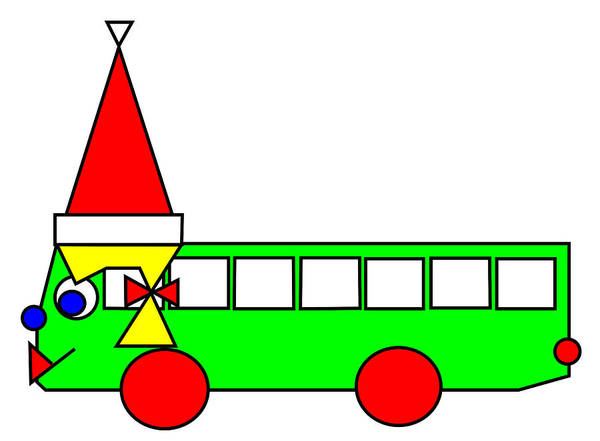 Belinda The Bus Wishes You A Merry Christmas Art Print featuring the digital art Belinda the Bus wishes you a Merry Christmas by Asbjorn Lonvig