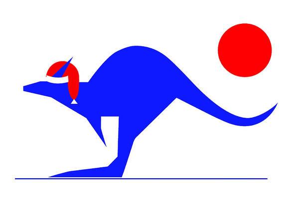 Blue Kangaroo Wishes You A Merry Christmas Art Print featuring the digital art Blue Kangaroo wishes you a Merry Christmas by Asbjorn Lonvig
