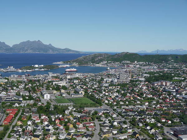 Tranquility Art Print featuring the photograph Bodø Airial View, North Norway by Monica Mostue