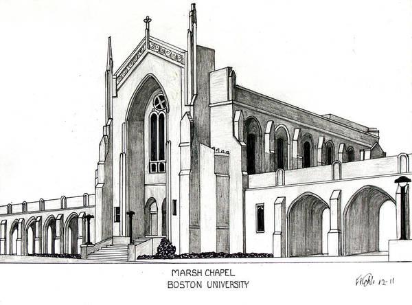 University Buildings Drawings Art Print featuring the drawing Boston University Marsh Chapel by Frederic Kohli