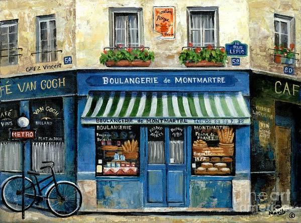 Europe Art Print featuring the painting Boulangerie de Montmartre by Marilyn Dunlap