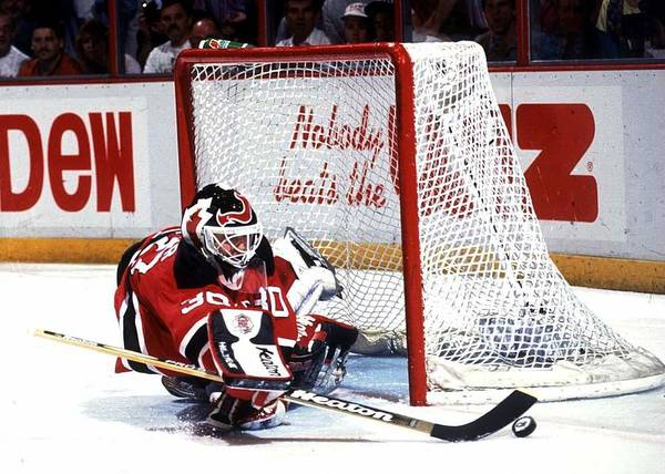 National Hockey League Art Print featuring the photograph Brodeur stops Flyers by B Bennett
