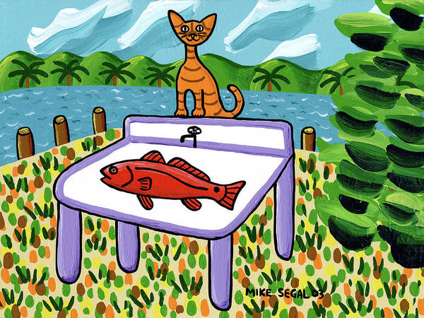 Cat Art Print featuring the painting Cat's Fish - Cedar Key by Mike Segal