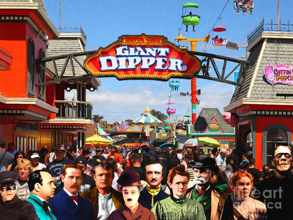 Wingsdomain Art Print featuring the photograph Charlie and Friends Cannot Decide Between The Giant Dipper The Sky Gliders Or The Side Shows v2 by Wingsdomain Art and Photography