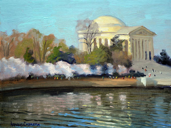 Washington Dc Art Print featuring the painting Cherry Blossoms Morning - Washington DC by Armand Cabrera