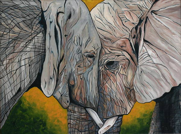 Elephant Art Print featuring the painting Comfort by Aimee Vance