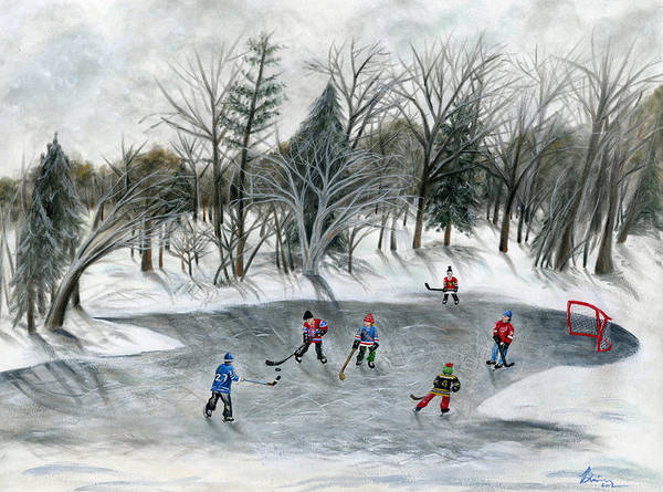 Hockey Art Print featuring the painting Credit River Dreams by Brianna Mulvale