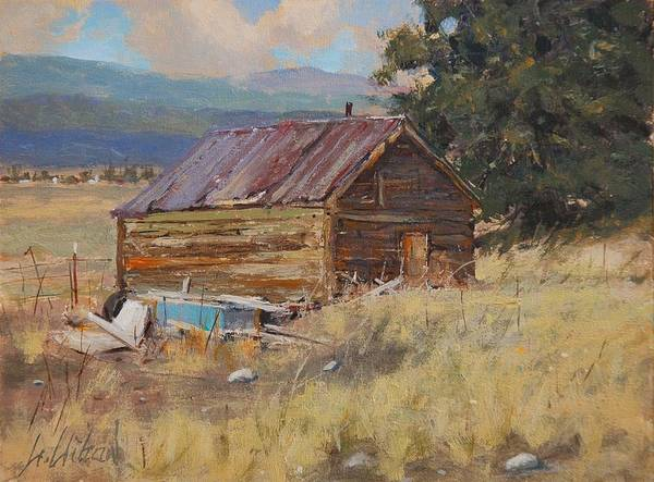 Landscape Art Print featuring the painting Cripple Creek Cabin by Greg Clibon