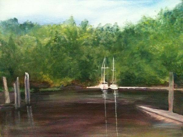 Plein Aire Art Print featuring the painting Curtain's Marina by Sheila Mashaw