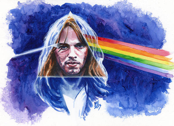 Pink Floyd Art Print featuring the painting David Gilmour by Ken Meyer jr