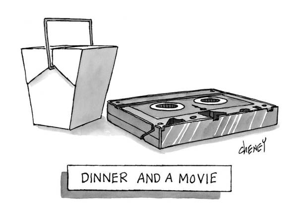 Dinner Art Print featuring the drawing Dinner And A Movie by Tom Cheney