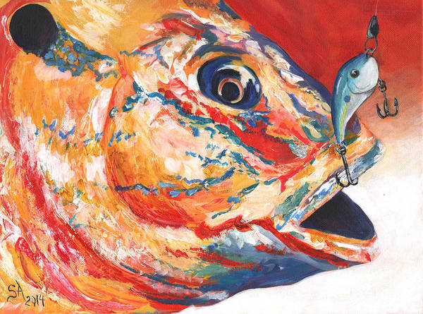 Expressionism Art Print featuring the painting Expressionist Blue Gill on Lure by Sonya Barnes