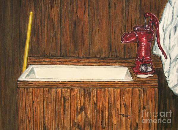 Farm Sink Art Print featuring the painting Farm Sink by Regan J Smith
