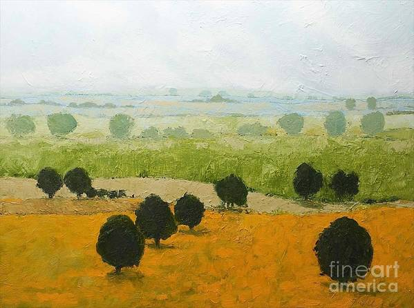 Landscape Art Print featuring the painting Fog Lifting Fast by Allan P Friedlander