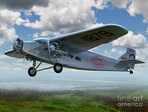 The Ford Trimotor Holds Its Place In History As The First Practical Passenger Airliner. During The 1930s The tin Goose Helped Bring The Wide Open Spaces Of Middle America A Little Closer To Each Other. Stout Airlines Served The Upper Midwest And Great Lakes Regions With The Area's First Scheduled Air Service. Art Print featuring the digital art Ford Trimotor by Stu Shepherd