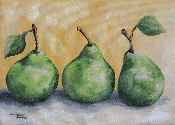 Fruit Art Print featuring the painting Fresh Green Pears by Torrie Smiley