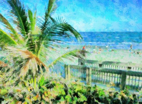 Beach Art Print featuring the mixed media From The Boardwalk by Florene Welebny