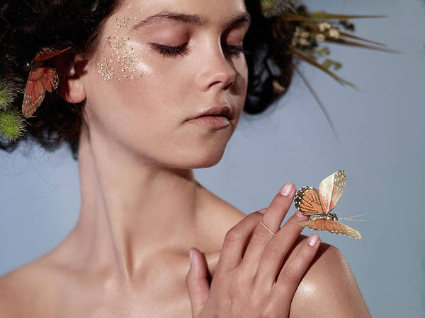 Tranquility Art Print featuring the photograph Girl With Butterfly In Hand by Bill Diodato