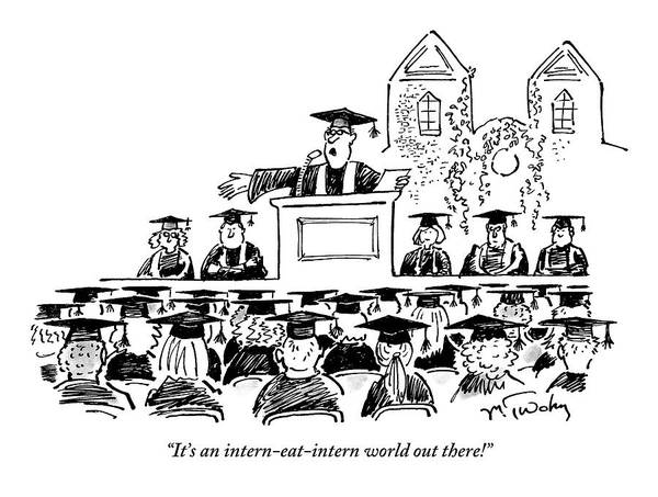 Graduation Art Print featuring the drawing Graduation Speaker Addressing Graduates Seated by Mike Twohy