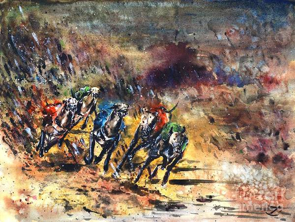 Greyhound Art Print featuring the painting Greyhound Racing by Zaira Dzhaubaeva