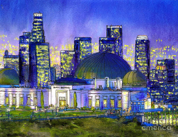 Los Angeles Art Print featuring the painting Griffith Park with LA Nocturne by Randy Sprout