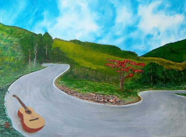 Guitar Art Print featuring the painting Guitar on the Road by Tony Rodriguez