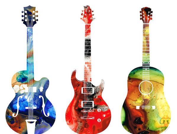 Guitar Art Print featuring the painting Guitar Threesome - Colorful Guitars By Sharon Cummings by Sharon Cummings