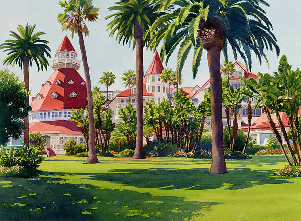 Landscape Art Print featuring the painting Hotel Del Coronado by Mary Helmreich