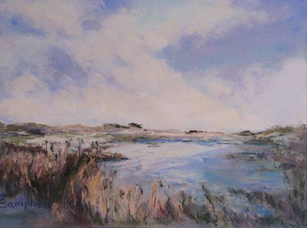 Landscape Art Print featuring the painting Huntington Beach Blues by Cecelia Campbell