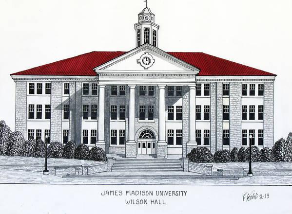 James Madison University Ink Drawings Art Print featuring the drawing James Madison University by Frederic Kohli