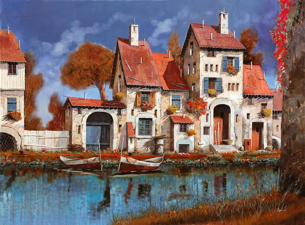 Little Village Art Print featuring the painting La Cascina Sul Lago by Guido Borelli