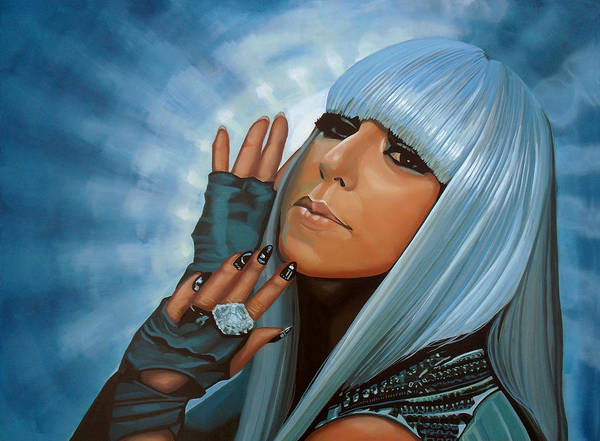 Lady Gaga Art Print featuring the painting Lady Gaga Painting by Paul Meijering