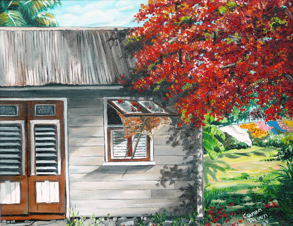 Caribbean Painting Typical Country House In The Caribbean Or West Indian Islands With Flamboyant Tree Tropical Painting Art Print featuring the painting Little West Indian House 1 by Karin Dawn Kelshall- Best