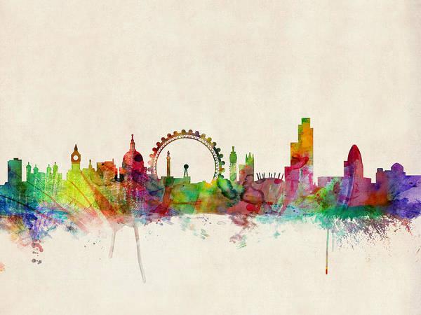 London Art Print featuring the digital art London Skyline Watercolour by Michael Tompsett
