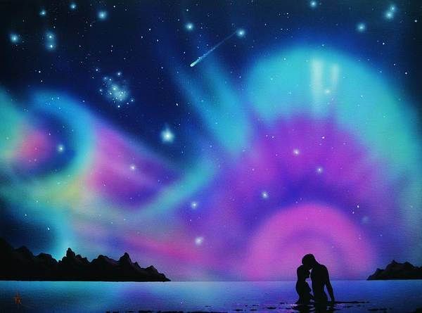 Aurora Borealis Art Print featuring the painting Love by the Aurora Borealis by Thomas Kolendra