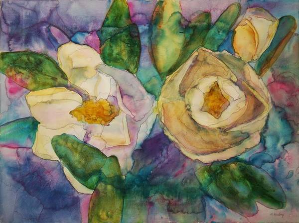 Flowers Art Print featuring the painting Magnolia Kaleidescope by Helen Hickey