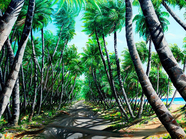 Coconut Trees Art Print featuring the painting Manzanilla Coconut Estate by Karin Dawn Kelshall- Best
