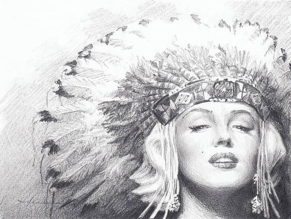 <a Href=http://miketheuer.com Target =_blank>www.miketheuer.com</a> Art Print featuring the drawing Marilyn Monroe In Headdress Pencil Portrait by Mike Theuer