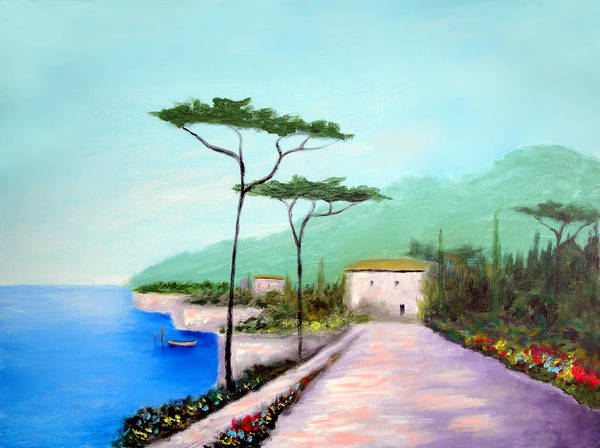 Lake Como Art Print featuring the painting Memories Of Lake Como by Larry Cirigliano