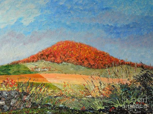 Blue Art Print featuring the painting Mole Hill Flaunting Autumn- SOLD by Judith Espinoza