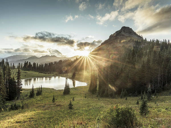Scenics Art Print featuring the photograph Mt.rainier In Sunset by Chinaface