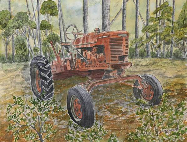 Old Art Print featuring the painting Old Tractor Vintage Art by Derek Mccrea